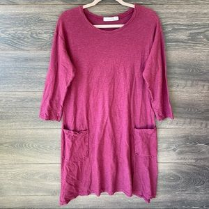 CUT LOOSE | Burgundy Pocket Linen 3/4 Sleeve Dress